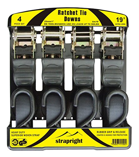 Ratchet Tie Down Straps, Extra Long at 19 Feet, 4 Pack. Heavy Duty with Rubber Handles Which Won't Come Off. Comes with Bonus Storage Bag and Instructional Booklet (Trailer Tailgate Lift compare prices)