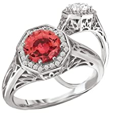 buy 18K Elite Collection Cultured 6.5Mm Round Padparadscha Engagement Ring With Octagon Halo