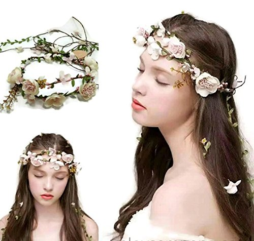 Multipurpose Flower Vine Crown Tiaras Necklace Belt Party Decoration : S9 (Pink)