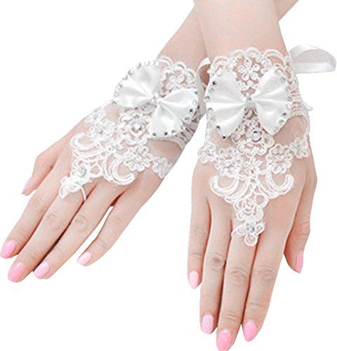 Rhinestone Lace Brides Wedding Floral Bowknot Fingerless Short Gloves, White