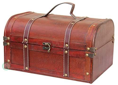 Decorative wood treasure box wooden trunk chest all - Decorative trunks and boxes ...
