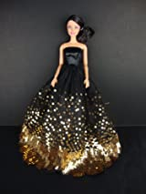 The Most Amazing Black Dress with Lots of Gold Sequins Made to Fit the Barbie Doll