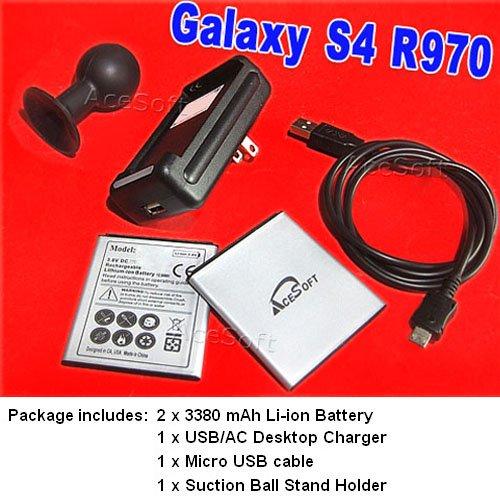 5 Accessory 2x 3380mAh R970 Battery Desktop Travel