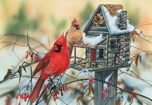 Cardinal's Rustic Retreat a 500-Piece Jigsaw Puzzle by Sunsout Inc.