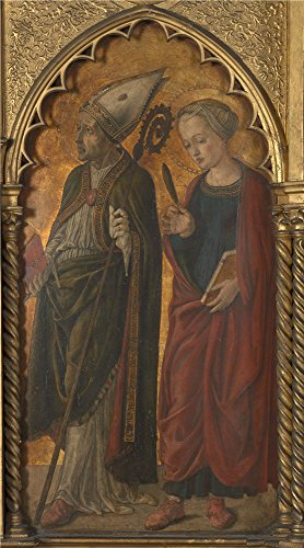 High Quality Polyster Canvas ,the Amazing Art Decorative Prints On Canvas Of Oil Painting 'Jacopo Di Antonio (Master Of Pratovecchio) A Bishop (Donatus) And A Female Martyr (Antilla) ', 10 X 18 Inch / 25 X 46 Cm Is Best For Kids Room Gallery Art And Home Decor And Gifts