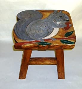 Grey Squirrel Hand Carved and Hand Painted Wooden Foot Stool