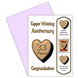 Wedding Anniversary Gifts 22 Year : 22nd Wedding Anniversary Card With Removable Magnet Gift -22 Years ...