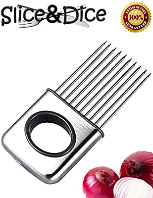 Onion Holder by Slice and Dice, Vegetable Potato Tomato Slicer Gadget Stainless Steel, Multipurpose Kitchen Tool