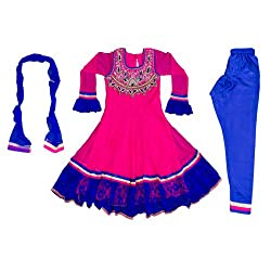 Pintoo Apparels Girls Pink Traditional Chudidar Set for 13-14 Years