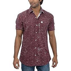 Inego Men's Casual Shirt (Burgundy )