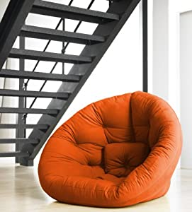 Fresh Futon Nest Convertible Futon Chair / Bed, Medium, Orange: Home