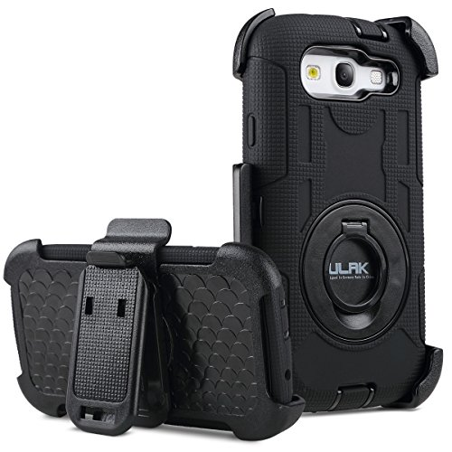 Galaxy S3 Case, S3 Case - ULAK Heavy Duty Anti Slip S3 Case Rugged Hybrid Rubber Shockproof Protection Hard Shell Cover for Samsung Galaxy S3 III i9300 with Belt Clip Holster Kickstand (Black) (Phone Accessories For S3 compare prices)