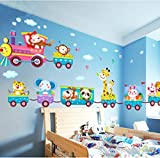 Baby Kids Safari Animals Train Wall Stickers Nursery Decor Art Mural Removable