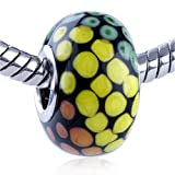 Pugster Murano Glass Bead Green Yellow Orange Spots Spiral Dotted Fit Pandora Bead Charm Bracelet