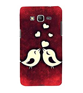 Printvisa Animated Love Birds In A Red Background 3D Hard Polycarbonate Designer Back Case Cover For Samsung Galaxy Grand Prime G530H