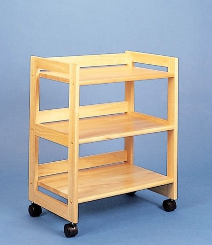 Cheap All Natural Wood 3 Shelf Storage Kitchen Utility Serving Cart on Casters (VF_4287)