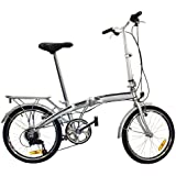 "Best Choice Products® 20"" Folding Bicycle Shimano 6 Speed Bike Fold Storage Silver"