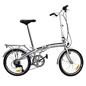 "20"" Folding Bicycle Shimano 6 Speed Bike Fold Storage Silver"