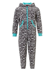 Hooded Monster Print Sweat Onesie