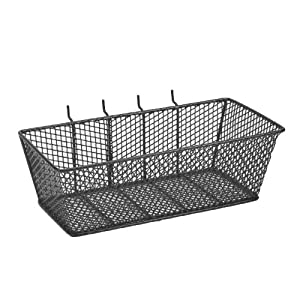 bulldog 131593 wire mesh basket with peg hooks black large home improvement. Black Bedroom Furniture Sets. Home Design Ideas
