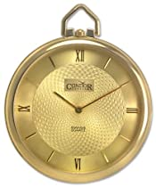 Condor 14kt Gold Mens Open Face Swiss Pocket Watch Gold tone Dial Quartz 14k