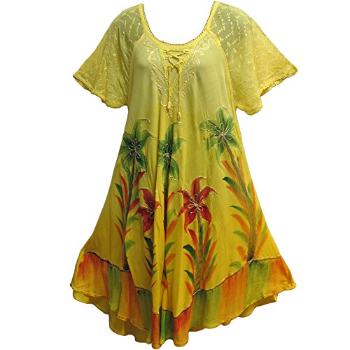 Bohemian Mid-Length Caftan Palm Tree Tye-Dye Summer Sun Dress (Yellow)
