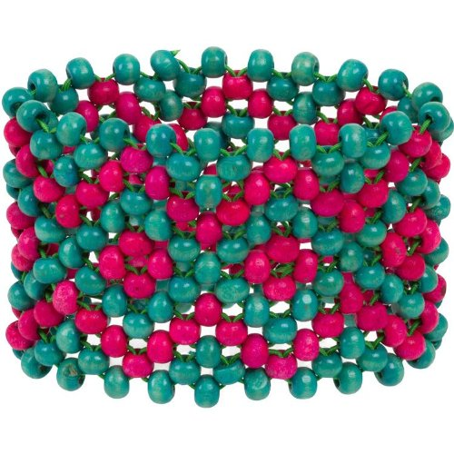 Heirloom Finds Ethnic Teal and Pink Wooden Bead