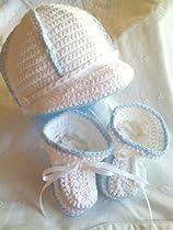 Hand Crocheted Baby Boy Visor Cap Hat Booties