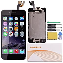 JingXiGuoJi® Replacement Digitizer and Touch Screen LCD Assembly With Spare Parts (Home Button, Flex Cable, Camera Bracket, Adhesive,Tools) For iPhone 6 4.7\'\' (Black)