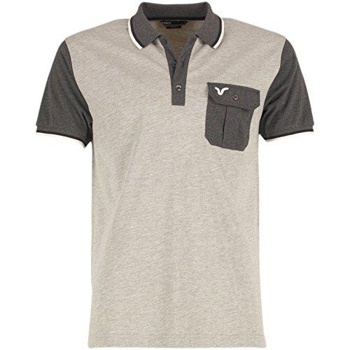 Graumeliert/Dunkelgrau/Schwarz/Weiß Voi Jeans Herren Carlton Polohemd Hellgraumeliert - L To Fit Chest 38-40 Euro Large