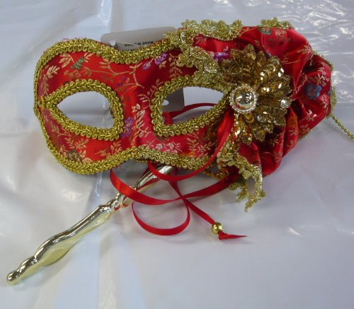 Floral Satin Mardi Gras Mask On Stick Mardi Gras Costume Mask 22777