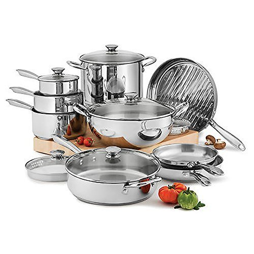 Wolfgang Puck Kitchen Cookware 15 Piece Stainless Steel Set Pots Bowls Skillets Sauce Pans Lids (Pots And Pans Set Wolfgang compare prices)