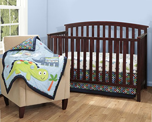 Bananafish Little Dino 3 Piece Crib Set, Blue - 1