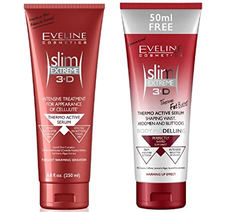 ANTI-CELLULITE Eveline Slim Extreme 3D Thermo Active Serum Shaping Waist, Abdomen and Buttocks - Fat Burner (250 ml) + Eveline Slim Extreme 3D Thermo Active Slimming Serum (250 ml) SUPER SET!