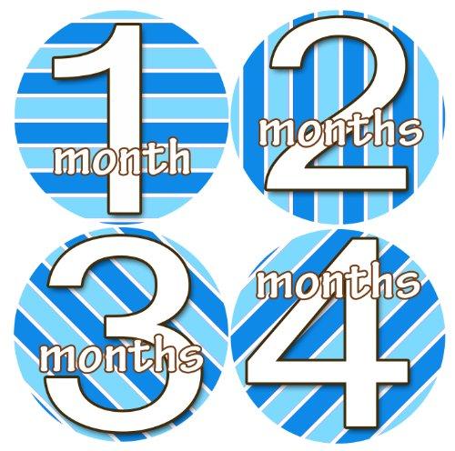 STRIPES BLUE WHITE KARTIKA Baby Boy Monthly Onesie Stickers Baby Month Onesie Stickers Baby Shower Gift Photo Shower Stickers, baby shower gift by OnesieStickers