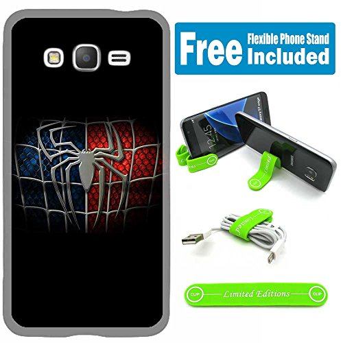 Samsung Galaxy On5 Cover Case Skin with Flexible Phone Stand - Spiderman Logo Black
