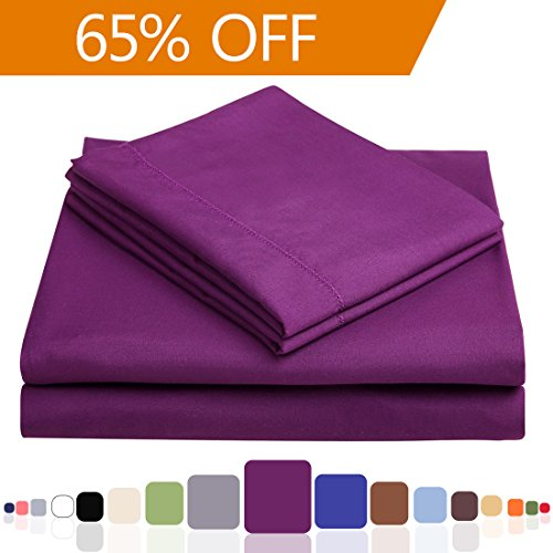 Balichun Microfiber 4-Piece Bed Sheet Set with 18-Inch Deep Pocket, Twin XL, Purple (Extra Long Deep Twin Sheets compare prices)