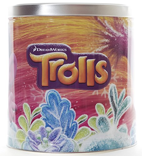 Trolls Popcorn Tin with 3 Flavors - Caramel, White Cheddar Cheese and Butter in Specialty Popcorn Container - 24 oz (Poppy) (Popcorn Snack Caramel compare prices)
