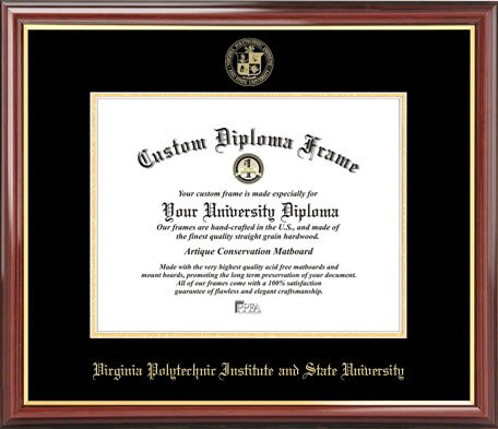 Virginia Tech Hokies - Embossed Seal - Mahogany Gold Trim - Diploma Frame