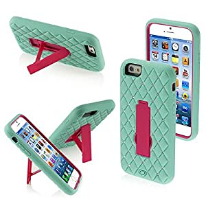 Asmyna Symbiosis Stand Protector Cover with Diamonds for iPhone 6 - Retail Packaging - Mint Green/Red