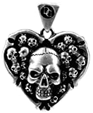 Skull Heart Pendant - Collectible Medallion Necklace Accessory Jewelry