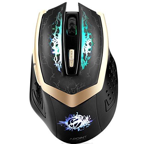 ShiRui G600S 2,4 GHz Wieder Aufladbare Drahtlose Gaming Maus mit 7 geräuschlosen Tasten und 3 DPI-Stufen für Windows und Mac (Schwarz)