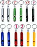 Aluminum Whistle Key Ring/Hiking/Mountaineering Accessory/Survival Whistle-Waterproof/Rust Proof- Assorted Colors- Pack of 12