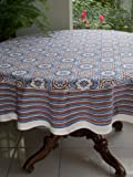 Ocean Breezes ~ Banquet Blue Brown Beach Round Tablecloth 90 Round