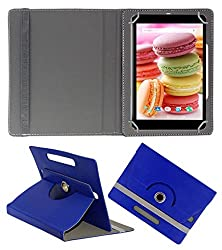 Acm Rotating 360° Leather Flip Case For Lava Ivory M4 Cover Stand Dark Blue