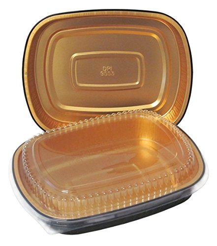 Durable Packaging 9553-Pt-50 Black And Gold Pan With Lid, Large (Pack Of 50)