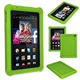 TECHGEAR® Bumper Case for Amazon Fire HD 7 (2014 Edition / 4th Gen / HD7) Rugged Heavy Duty Anti-Shock Rubber Protective Case with Added Corner & Edge Protection and Easy Grip Design + Screen Protector [GREEN] - Kids & School Friendly Case