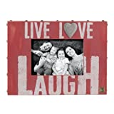 Red Live Love Laugh With Heart Inspirational Wooden Picture Photo Frame Holds A 4x6 Photo -Measures 8x11 Inches