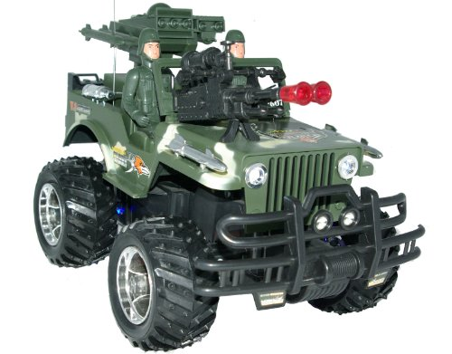LARGE Remote Control Car 4x4 Challenger Cross Country Army Jeep Rechargeable 7.2v Picture