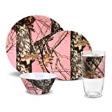 Mossy Oak Break Up Infinity 16 Piece Pink Melamine Dinnerware Set, Service for 4 - Pink